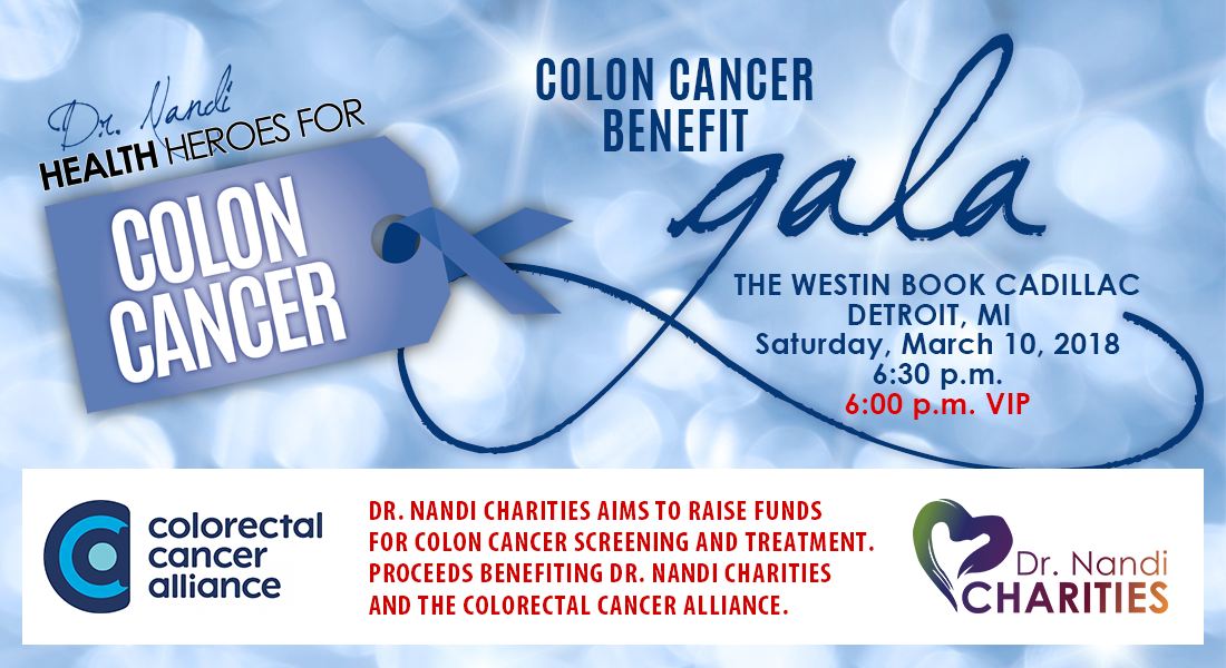 Dr. Nandi Charities of Michigan to host a Detroit Benefit Gala to raise funds for Colon Cancer Screening, Prevention and Treatment